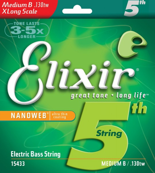 Одиночная 5-я струна для бас гитары ELIXIR 15433 Nanoweb Extra Long Medium B 130